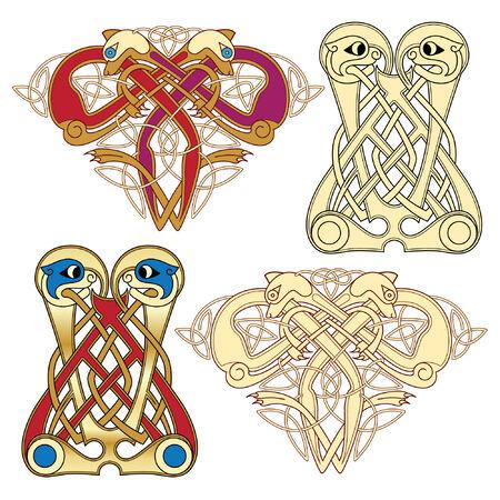 pagan: R�sum� des couleurs celtiques conception ?uvres - motifs zoomorph