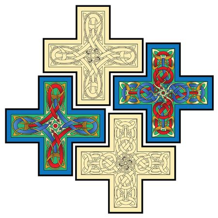 abstract celtic color design works - zoomorph motifs Vector