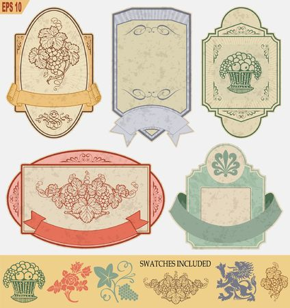 the topics: vintage style labels on different topics for decoration and design