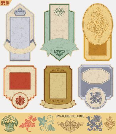 témata: štítky vintage stylu na různá témata pro dekoraci a design
