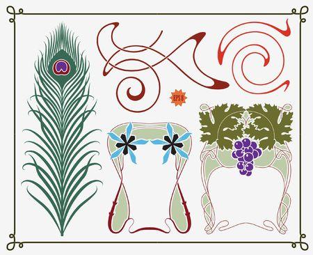 treasures of historical design - art-nouveau (based on original) Vector Illustration