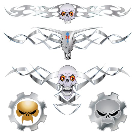 Tribal skull set for tattoo, decoration and design Vector