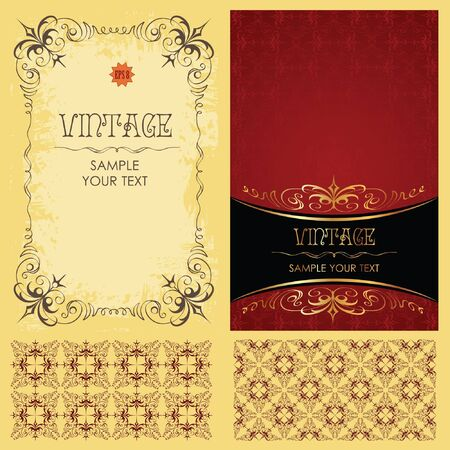 wedding card design: Vintage set: framework, pattern and background