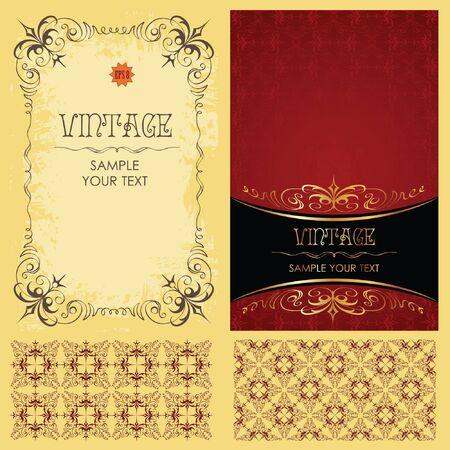 Vintage set: framework, pattern and background