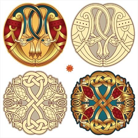 pagan: ?uvres de conception abstraite couleur celtique - motifs zoomorph