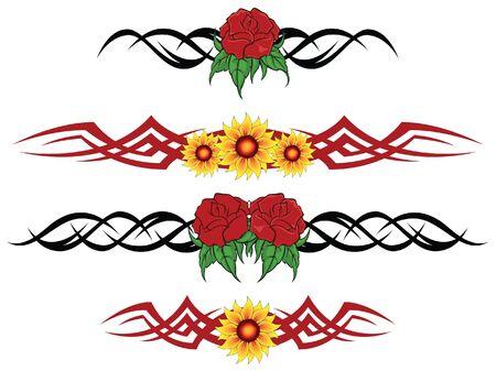 Flower tribal tattoo  Vector