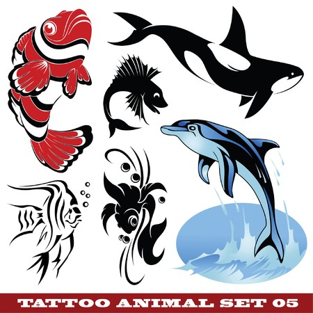 set: templates Fish for tattoo and design on different topics  Stock Vector - 7038434