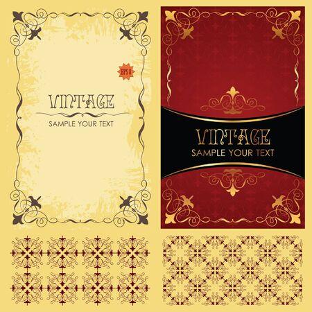 Vintage  set: framework, pattern and background Vector
