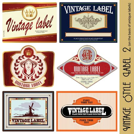 vintage style label (on the basis of antique labels) Ilustração