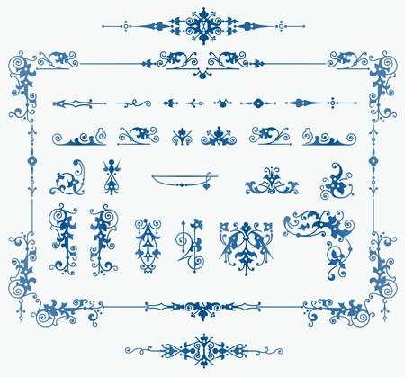 set of elements for design, creating borders, frames and backgrounds Illustration