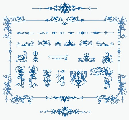 wed beauty: set of elements for design, creating borders, frames and backgrounds Illustration