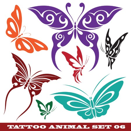 modelli di farfalla per tatuaggio e design su diversi argomenti