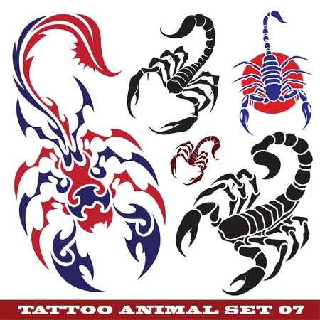 templates scorpions for tattoo and design on different topics Фото со стока - 7311476