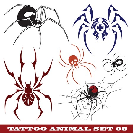 templates spiders for tattoo and design on different topics Фото со стока - 7311473