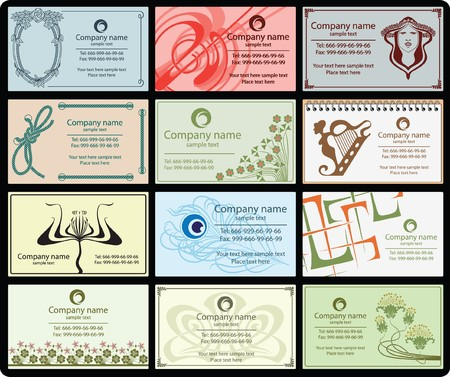 variety of 12 horizontal business cards vintage style on different topics Vector
