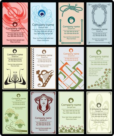 coffee company: variety of 12 vertical business cards vintage style on different topics