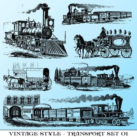 varias ilustraciones de estilo vintage - juego de transporte antigua