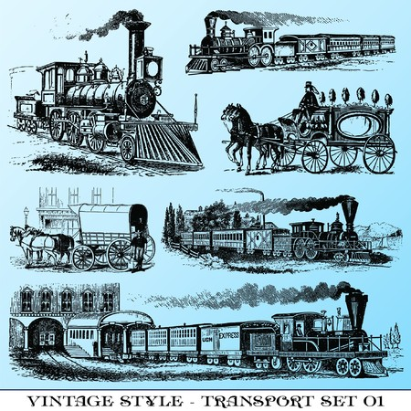 steam train: various Vintage-style illustrations  - ancient transport set