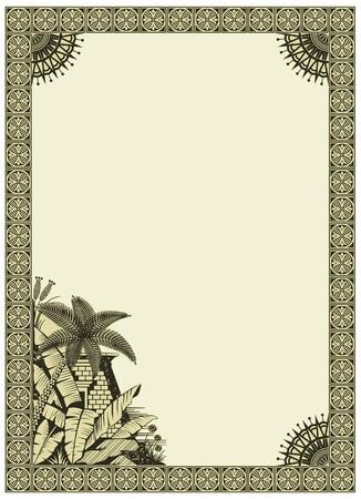 sfinx:  achtergrond met een rand op het thema van het oude Egypte