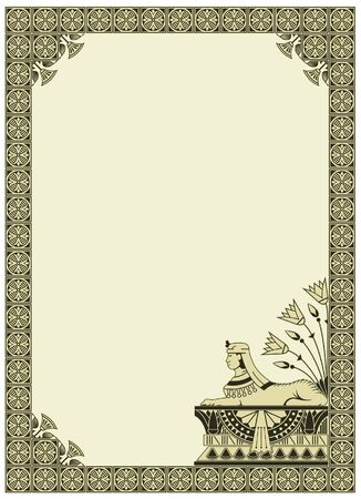 egyptian pharaoh: vector background with a border on the theme of Ancient Egypt