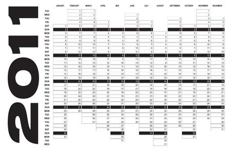 Calendar for Year 2011 Vector