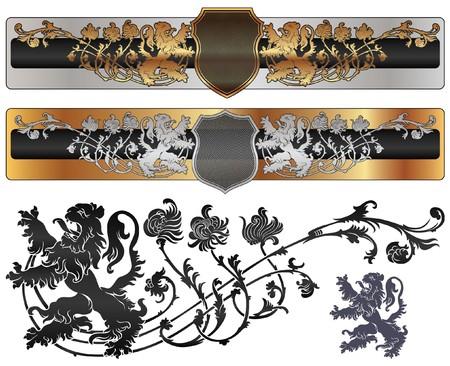 rey medieval: banner her�ldica en el estilo medieval con pisar Le�n  Vectores