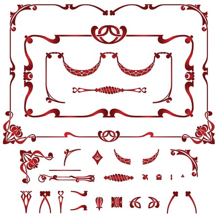 stencil: Set of plant element and frames for creating borders and background