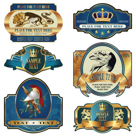 scottish: gold-framed labels on different topics for decoration and design Illustration