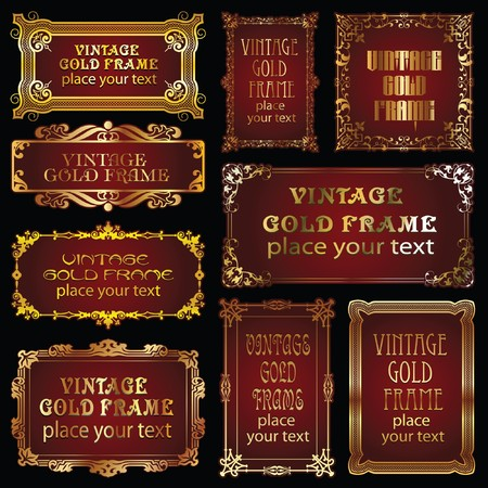 9 vintage style gold border Stock Vector - 7844868