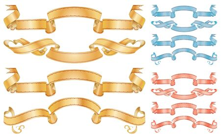beautiful golden, red, blue ribbons for decoration holiday cards and other design  Vector