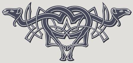 pohanský: abstract celtic color design works - zoomorph motifs
