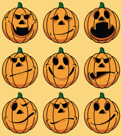 Set of 9 smiley pumpkin faces: in various facial expressions Vector