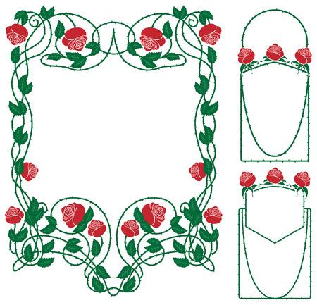 rose floral border in vintage style Vector