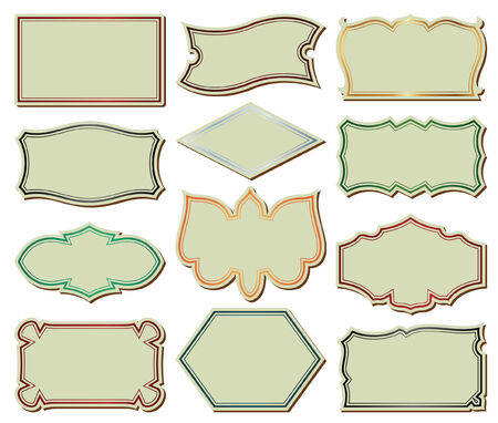 gold-framed stickers on different topics for decoration and design Vector
