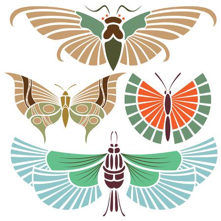 tatouage papillon:  Tatouage papillon dans le style vintage Illustration