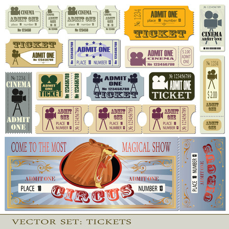 tickets admit one in different styles.  Vector