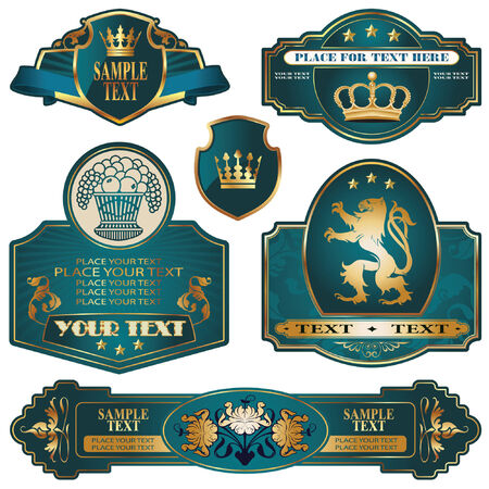 témata: gold-framed labels on different topics