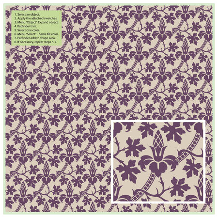 victorian textile: Vector seamless plants pattern in vintage style Illustration