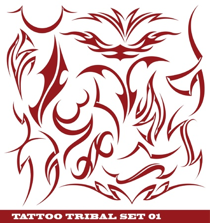 Stock: set of tribal tattoo Vector