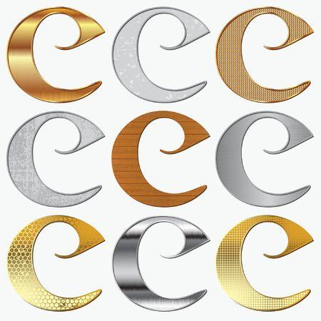 aluminio: Alfabeto estilizada diferentes materiales naturales y texturas  Vectores