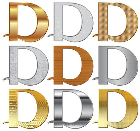 Alphabet stylized different natural materials and textures  Vector
