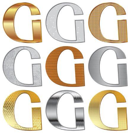 platin: Alphabet stilisierte verschiedene nat�rliche Materialien und Texturen