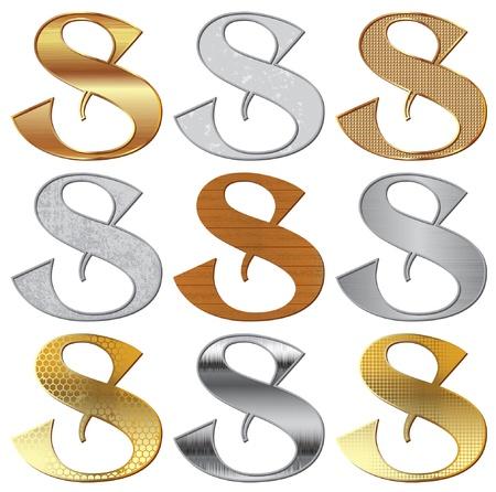 platin:  Alphabet stilisierte verschiedene nat�rliche Materialien und Texturen  Illustration