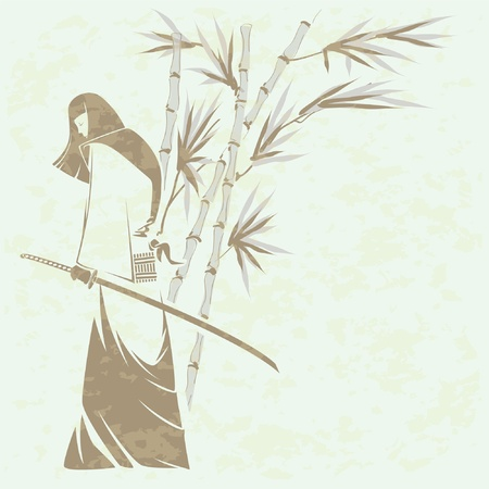 Girl samurai sword under the stalks of bamboo (Grunge removed) Vector