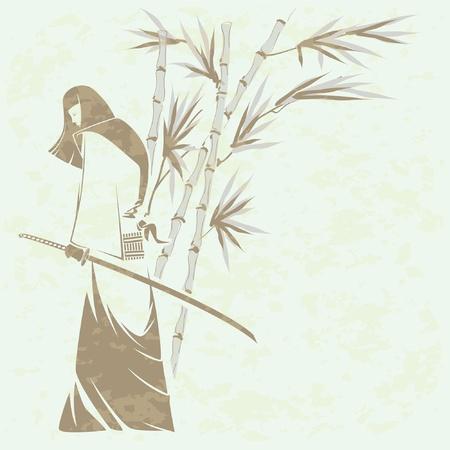 sterbliche: M�dchen Samurai-Schwert unter den Stielen der Bambus (Grunge entfernt) Illustration