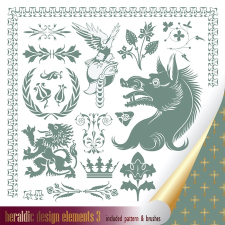 eagle shield and laurel wreath: vector set: heraldry - elements for your heraldic design projects