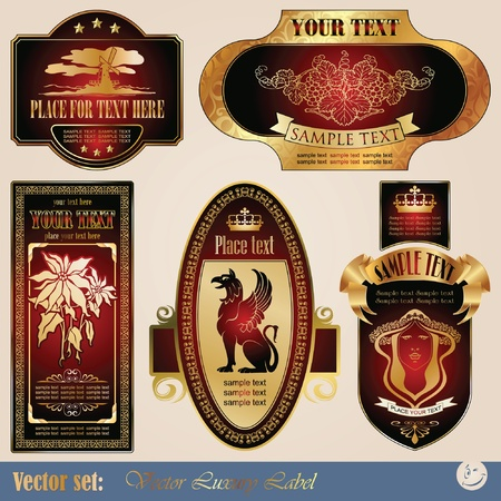gold-framed labels on different topics for decoration and design Stock Vector - 8935644