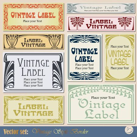 vintage style labels on different topics for decoration and design Stock Vector - 8935635