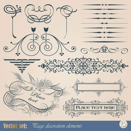 Vector set: calligraphic design elements and page decoration Illustration