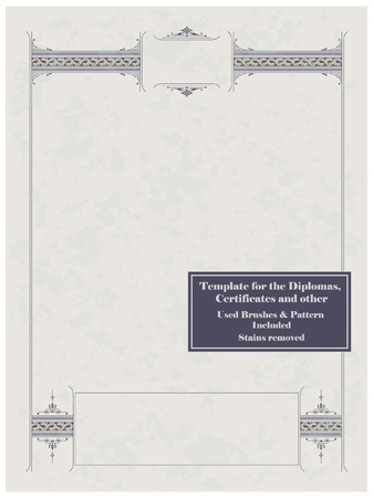 Vintage frame, certificate or diploma template. Used brushes and pattern included. Stock Vector - 8987125